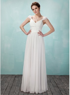 A-Line/Princess V-neck Floor-Length Chiffon Tulle Charmeuse Evening Dress With Ruffle Beading