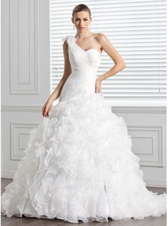 Ball-Gown One-Shoulder Chapel Train Organza Wedding Dress With Flower(s) Cascading Ruffles