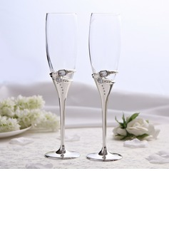 Rings Design Lead-free Glass Toasting Flutes (Set Of 2)