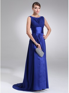 A-Line/Princess Scoop Neck Sweep Train Chiffon Charmeuse Evening Dress With Ruffle (017022545)