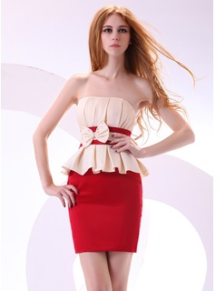 Sheath/Column Strapless Short/Mini Satin Cocktail Dress With Ruffle Beading Bow(s)
