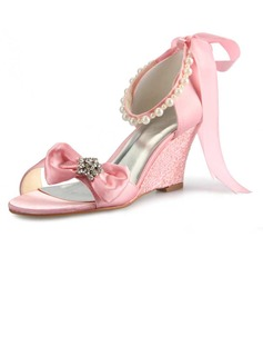 Women's Satin Wedge Heel Pumps Sandals With Bowknot Imitation Pearl