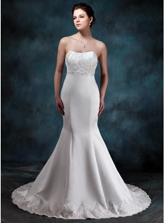 Empire Sweetheart Court Train Satin Wedding Dress With Ruffle Lace Beading
