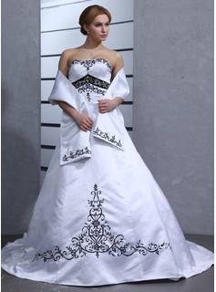 Ball-Gown Sweetheart Chapel Train Satin Wedding Dress With Embroidery Sashes (002001949)
