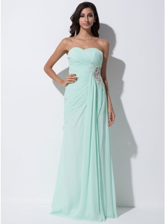Sheath/Column Sweetheart Floor-Length Chiffon Tulle Prom Dress With Ruffle Lace Beading Sequins Split Front
