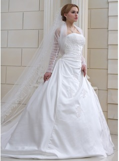 Ball-Gown Strapless Chapel Train Satin Wedding Dress With Ruffle Beading Appliques Lace