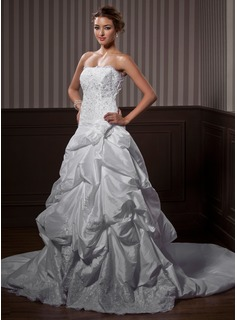 Ball-Gown Strapless Chapel Train Taffeta Wedding Dress With Ruffle Lace Beadwork Flower(s)
