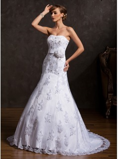 Mermaid Sweetheart Court Train Satin Tulle Wedding Dress With Lace Flower(s) Sequins