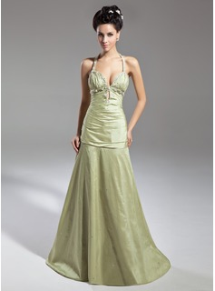 A-Line/Princess Halter Sweep Train Taffeta Evening Dress With Ruffle Beading