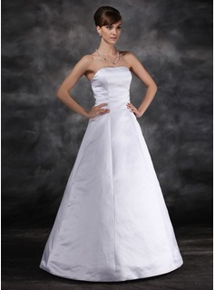 Ball-Gown Strapless Floor-Length Satin Wedding Dress (002022560)
