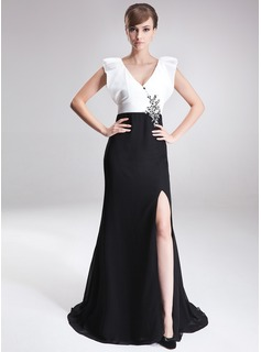 A-Line/Princess V-neck Sweep Train Chiffon Charmeuse Mother of the Bride Dress With Beading Sequins Split Front