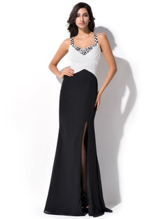 Sheath/Column Sweetheart Floor-Length Chiffon Evening Dress With Ruffle Beading Sequins Split Front