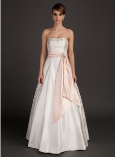 A-Line/Princess Strapless Floor-Length Satin Charmeuse Wedding Dress With Sash Beadwork