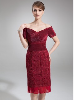 Sheath/Column Off-the-Shoulder Knee-Length Chiffon Charmeuse Lace Mother of the Bride Dress With Ruffle