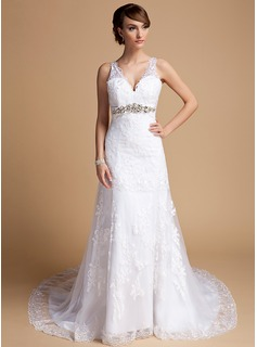 A-Line/Princess V-neck Court Train Satin Tulle Wedding Dress With Lace Beadwork (002014709)