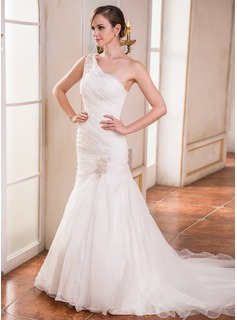 Trumpet/Mermaid One-Shoulder Court Train Organza Wedding Dress With Ruffle Beading Appliques