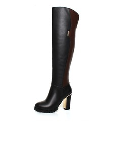 Real Leather Leatherette Chunky Heel Knee High Boots With Zipper shoes (088039955)