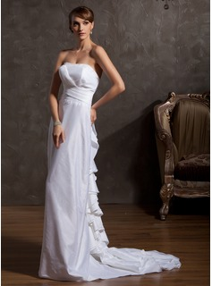 A-Line/Princess Strapless Court Train Taffeta Wedding Dress With Beading Cascading Ruffles