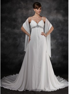 Empire V-neck Chapel Train Chiffon Wedding Dress With Ruffle Beadwork Sequins (002012125)