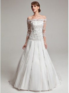 Ball-Gown Off-the-Shoulder Chapel Train Tulle Charmeuse Wedding Dress With Lace Beadwork (002017567)