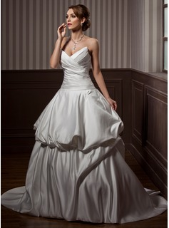 Ball-Gown Sweetheart Sweep Train Satin Wedding Dress With Ruffle
