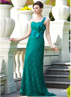 A-Line/Princess One-Shoulder Sweep Train Chiffon Charmeuse Lace Mother of the Bride Dress With Ruffle Beading