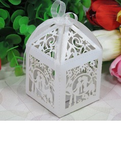 Exquisite Lovers Laser Cut Favor Boxes With Ribbons (Set of 12)