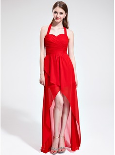 A-Line/Princess Halter Asymmetrical Chiffon Bridesmaid Dress With Ruffle Bow(s)