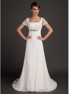 A-Line/Princess Scoop Neck Court Train Chiffon Satin Wedding Dress With Lace Beadwork