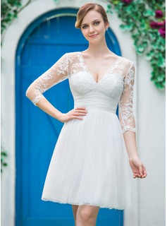 A-Line/Princess V-neck Knee-Length Tulle Lace Wedding Dress With Ruffle Bow