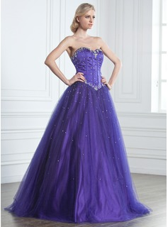 Ball-Gown Sweetheart Floor-Length Satin Tulle Prom Dress With Beading (018043675)