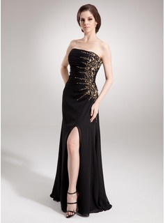 Sheath Strapless Floor-Length Chiffon Evening Dress With Ruffle Beading (017016336)