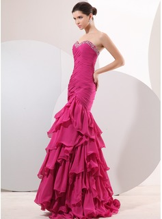 Mermaid Sweetheart Floor-Length Chiffon Evening Dress With Ruffle Beading