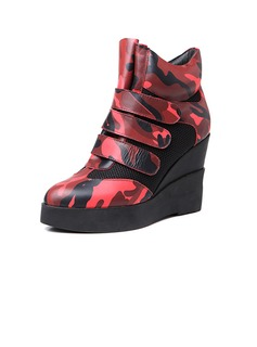 Leatherette Wedge Heel Closed Toe Wedges With Velcro shoes