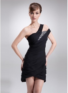 Sheath One-Shoulder Short/Mini Chiffon Cocktail Dress With Ruffle Beading (016008341)