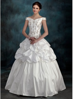Ball-Gown Off-the-Shoulder Floor-Length Taffeta Wedding Dress With Beadwork Flower(s)