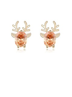 Zircon/Gold Plated Ladies' Earrings