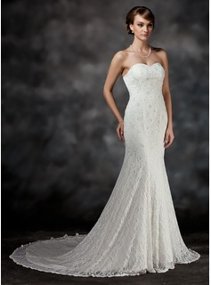 Trumpet/Mermaid Sweetheart Chapel Train Satin Lace Wedding Dress With Beading