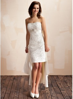 Sheath/Column Sweetheart Asymmetrical Detachable Satin Lace Wedding Dress With Beadwork Crystal Brooch Sequins