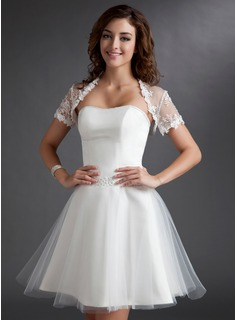 A-Line/Princess Sweetheart Knee-Length Tulle Wedding Dress With Ruffle Beadwork (002011497)