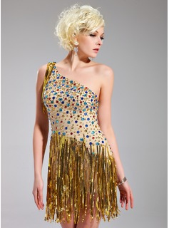 Sheath One-Shoulder Short/Mini Chiffon Cocktail Dress With Beading Sequins (016019136)