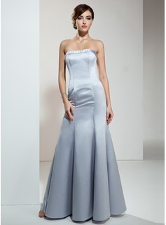 Mermaid Strapless Floor-Length Satin Evening Dress (017039552)