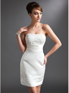 Sheath/Column Sweetheart Short/Mini Satin Mother of the Bride Dress With Lace Beading