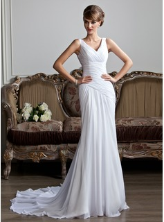 Sheath/Column V-neck Court Train Chiffon Wedding Dress With Ruffle (002011736)