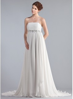Empire Strapless Chapel Train Chiffon Wedding Dress With Ruffle Lace Beadwork