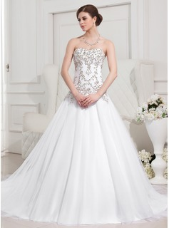 Ball-Gown Sweetheart Chapel Train Satin Tulle Wedding Dress With Embroidery Beadwork (002012752)
