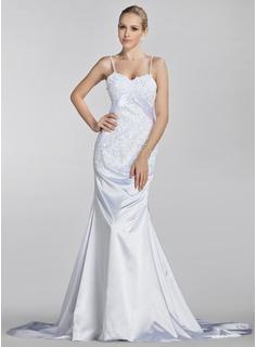Trumpet/Mermaid Sweetheart Court Train Charmeuse Wedding Dress With Ruffle Lace Beading