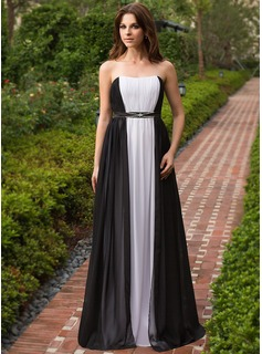 A-Line/Princess Sweetheart Floor-Length Chiffon Charmeuse Evening Dress With Ruffle Beading