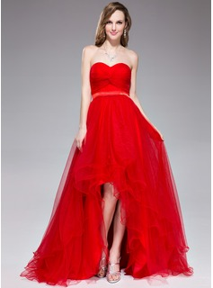 A-Line/Princess Sweetheart Asymmetrical Tulle Charmeuse Holiday Dress With Ruffle