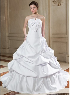 Ball-Gown Scalloped Neck Chapel Train Satin Wedding Dress With Ruffle Bow